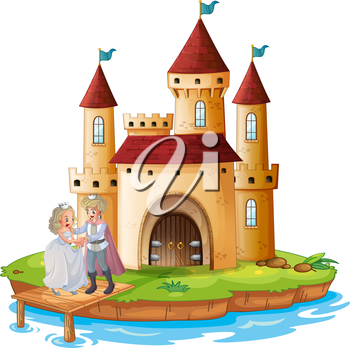 Illustration of a prince and a princess in front of the castle on a white background