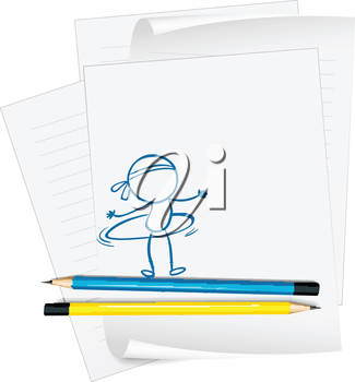 Illustration of a paper with a sketch of a person with a hula hoop on a white background
