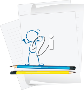 Illustration of a paper with a drawing of a boy standing on a white background