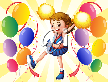 Illustration of a cheerleader dancing in the middle of the balloons