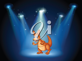 Illustration of a kangaroo at the center of the stage with spotlights