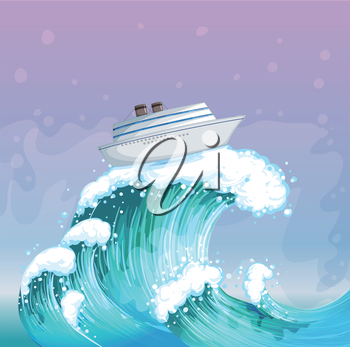 Illustration of a boat above the big wave