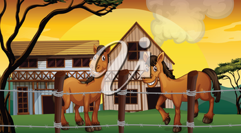 Illustration of a farm with two horses