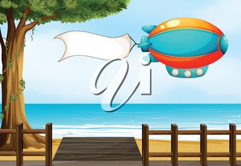Illustration of an aircraft at the beach with an empty signage