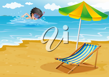 Illustration of a boy swimming at the beach with an umbrella and a foldable bed