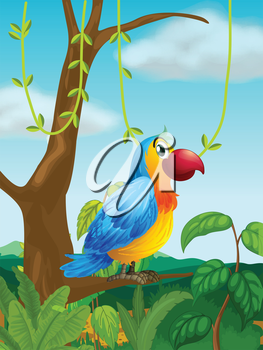 Illustration of a colorful parrot at the branch of a tree