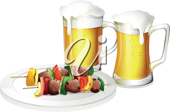 Illustration of the two glasses of beer with a plate of barbeque on a white background