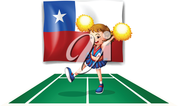 Illustration of a cheerleader dancing in front of the Chile flag on a white background