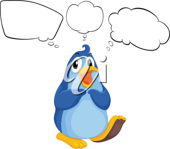 Illustration of a penguin thinking on a white background