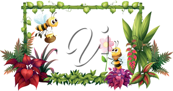 Illustration of the bees with flowers on a white background