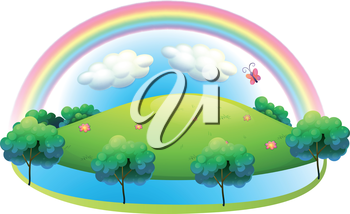Illustration of a rainbow at the hill on a white background