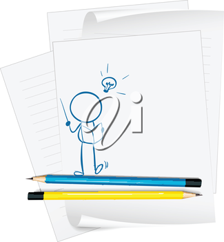 Illustration of a paper with a sketch of a person reading