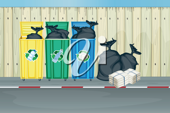 Illustration of the three different colors of trash cans