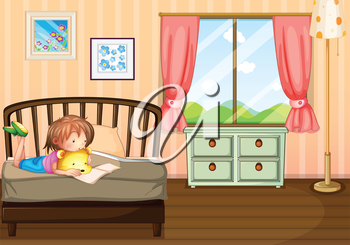 Illustration of a child studying inside her room