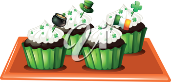 Illustration of a tray with four chocolate cupcakes on a white background