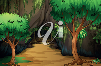 Illustration of a cave at the forest
