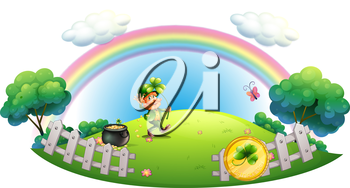 Illustration of a man with a pot of gold coins inside the fence on a white background