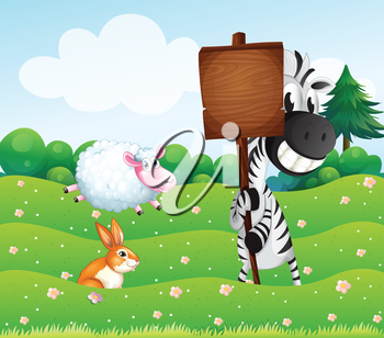 Illustration of a zebra holding an empty wooden signboard at the hill