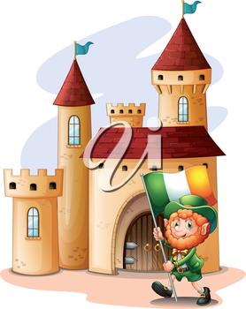 Illustration of a man holding a flag in front of a castle on a white background
