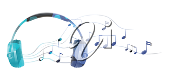 Illustration of a headphone with musical notes on a white background