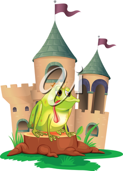 Illustration of a frog in front of a castle on a white background