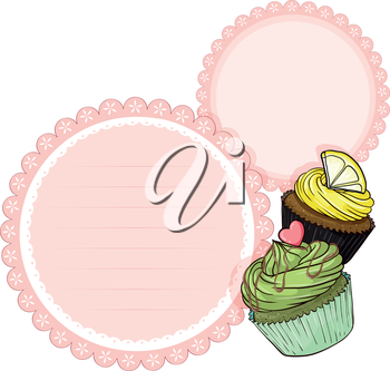 Illustration of an empty stationery with cupcakes on a white background