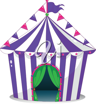 Illustration of a violet circus tent on a white background