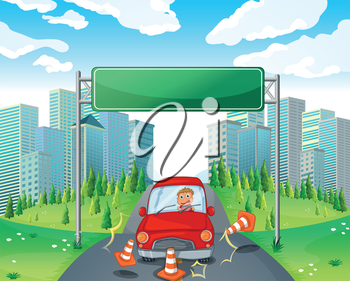 Illustration of a boy riding on a red car passing the empty signboard