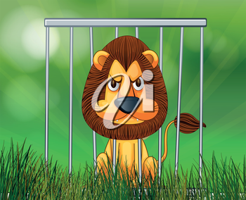 Illustration of a scary face lion inside the cage