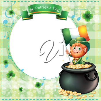 Illustration of a stationery for St. Patrick's day with an old man and a pot of coins