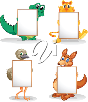 Illustration of the wild animals with empty bulletin boards on a white background