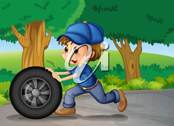 Illustration of a boy wearing a cap pushing a wheel