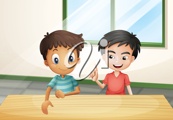 Illustration of the two boys near the wooden table