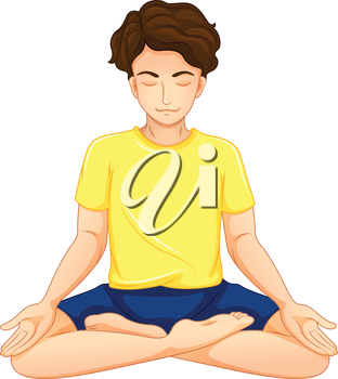 Illustration of a guy performing yoga on a white background