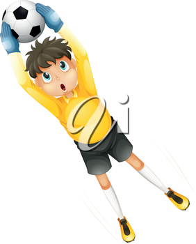 Illustration of a little football player catching the ball on a white background