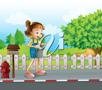 Illustration of a girl walking in the street with a sprinkler