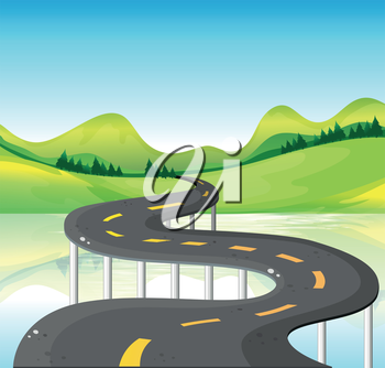 Illustration of a very narrow curve road