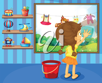 Illustration of a girl cleaning her window pane