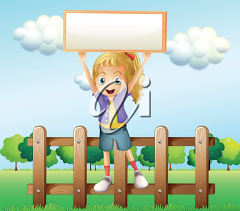 Illustration of a girl holding an empty frame standing above the fence