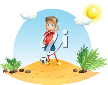 Illustration of a tired soccer player on a white background