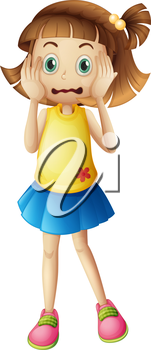 Illustration of a young girl with a stress face on a white backgroud