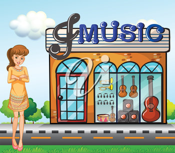 Illustration of a girl near the music shop