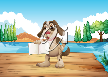 Illustration of a dog holding an empty book standing at the port