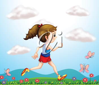 Illustration of a girl running with butterflies