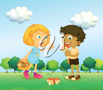 Illustration of a girl and a boy picking up mushrooms