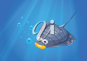 lllustration of a manta ray under the sea