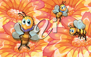 Illustration of the three bees collecting foods