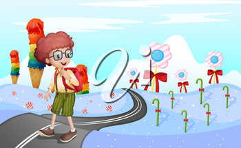 Illustration of a student walking in the road