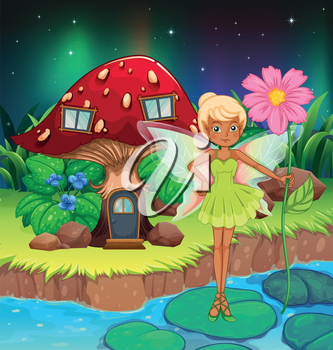 Illustration of a fairy holding a flower near the red mushroom house