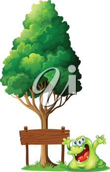 Illustration of a happy green monster beside the empty wooden signage under the tree on a white background